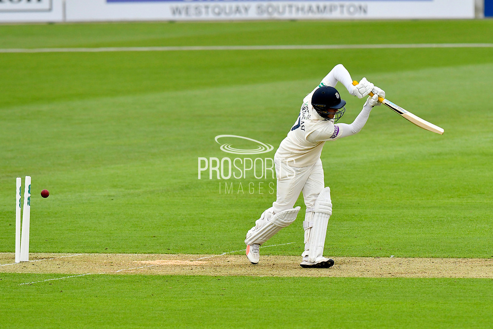 Wicket - Sam Northeast of Hampshire is bowled by Joe Leach of Worcestershire during the Specsavers County Champ Div 1 match between Hampshire County Cricket Club and Worcestershire County Cricket Club at the Ageas Bowl, Southampton, United Kingdom on 13 April 2018. Picture by Graham Hunt.