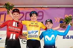 Top three in the General Classification: Kathrin Hammes (GER), Pernille Mathiesen (DEN) and Lourdes Oyarbide (ESP) at Lotto Thüringen Ladies Tour 2019 - Stage 6, a 102 km road race in Altenburg, Germany on June 2, 2019. Photo by Sean Robinson/velofocus.com