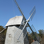 A restored windmill along scenic Route 6A in Cape Cod, Massachusetts. Windmills were often erected in colonial times to mill grains such as corn.