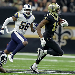 Nov 4, 2018; New Orleans, LA, USA; New Orleans Saints wide receiver Michael Thomas (13) breaks away from Los Angeles Rams strong safety John Johnson (43) during the first half at the Mercedes-Benz Superdome. Mandatory Credit: Derick E. Hingle-USA TODAY Sports