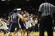 """Ole Miss Rebels center Dwight Coleby (23) battles TCU Horned Frogs forward Chris Washburn (33) at the C.M. """"Tad"""" Smith Coliseum in Oxford, Miss. on Thursday, December 4, 2014. TCU won 66-54."""