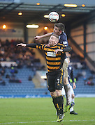 Aerial battle between Dundee's Declan Gallagher and Alloa Athletic's Daryll Meggat - Dundee v Alloa Athletic, SPFL Championship at Dens Park<br /> <br />  - &copy; David Young - www.davidyoungphoto.co.uk - email: davidyoungphoto@gmail.com