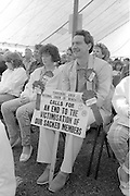 Waiting for the speeches at the 99th Yorkshire Miners Gala. 1986 Doncaster.