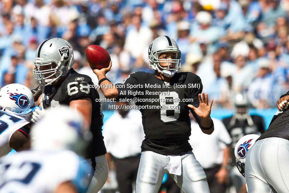 12 September 2010:  Raiders at Titans - Raiders QB Jason Campbell  - The Tennessee Titans beat the Raiders 38-13 to open up the regular season on LP Field in Nashville, Tennessee.