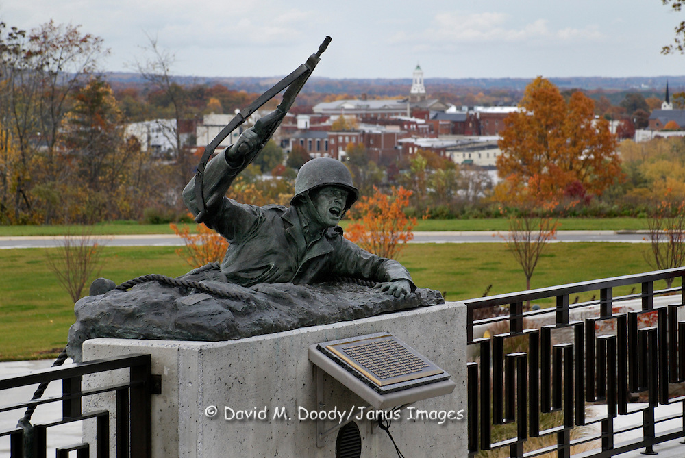 National D-Day Memorial overlooking Bedford, Virginia. The small town of Bedford, Virginia had the highest rate of losses in the country on the World War II D-Day invasion of Europe June 6, 1944.