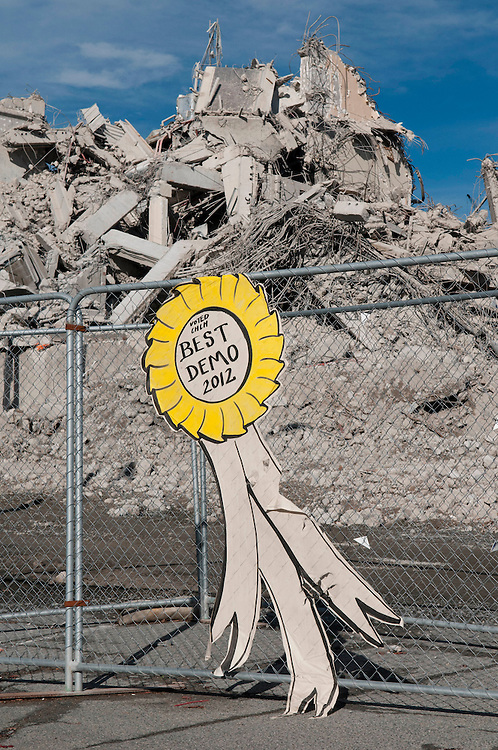 A shrinking pile of rubble is all that remains of the Crowne Plazza Hotel, demolished after earthquake damage,  Christchurch, New Zealand, Friday April 27, 2012. Credit: SNPA /  David Alexander.