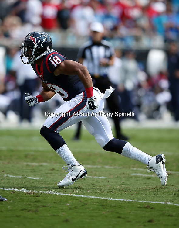 Houston Texans wide receiver Cecil Shorts III (18) goes out for a pass during the 2015 NFL week 2 regular season football game against the Carolina Panthers on Sunday, Sept. 20, 2015 in Charlotte, N.C. The Panthers won the game 24-17. (©Paul Anthony Spinelli)