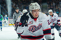 REGINA, SK - MAY 23: Nick Henry #21 of the Regina Pats celebrates a goal against the Swift Current Broncos at the Brandt Centre on May 23, 2018 in Regina, Canada. (Photo by Marissa Baecker/CHL Images)