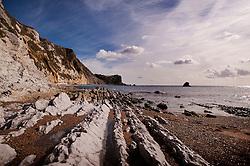 Lulworth Cove on the Jurassic Coast, Dorset, England, UK.