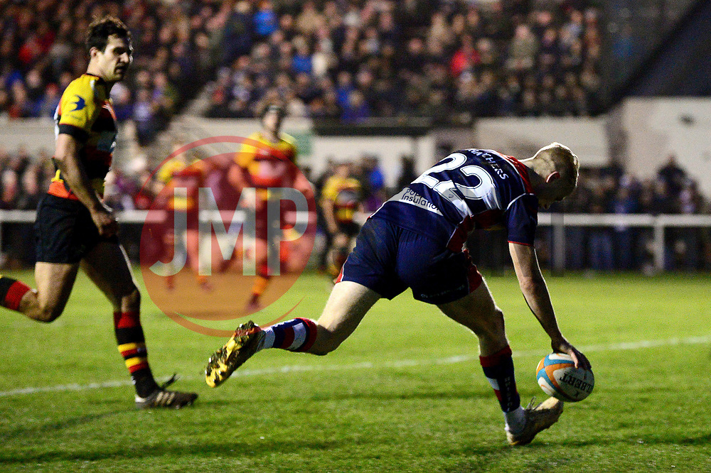 Mat Protheroe of Bristol Rugby scores a try  - Mandatory by-line: Dougie Allward/JMP - 30/12/2017 - RUGBY - The Athletic Ground - Richmond, England - Richmond v Bristol Rugby - Greene King IPA Championship