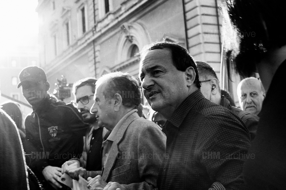 Domenico Lucano. National demonstration under the slogan 'United and in solidarity against the Government, racism and the Salvini Decree' on November 10, 2018 in Rome, Italy. The Security Decree Bill 'Decreto Sicurezza' tightening immigration policy presented by League leader and Deputy Prime Minister Matteo Salvini was passed in the senate earlier this week. Rome 10 november 2018. Christian Mantuano / OneShot