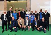 Da sinistra in piedi: Luca Dalmonte, <br /> Riccardo Pittis, Sandra Palombarini, Dino Meneghin, Bugs Bunny, Umberto <br /> Quadrino, Simone Pianigiani, Pietro Aradori, Angelo Barnaba.<br /> In basso <br /> da sinistra: Andrea Capobianco, Silvio Orlando, Loris Barbiero, <br /> Giampiero Ticchi e Pino Sacripanti.<br /> FOTO CIAMILLO