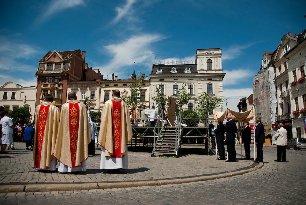 Corpus Christi, procession of the blessed sacrament in the town of Cieszyn on the Polish, Czech border. The feast of Corpus Christi is to honour the Eucharist. After Mass the Eucharist is paraded through the streets with prayers and hymns.