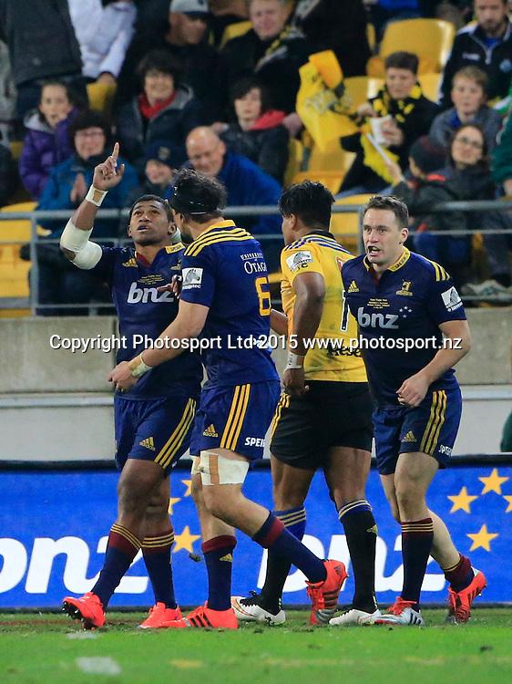 Highlanders Waisake Naholo celebrates his try.   Super Rugby Final, Hurricanes v Highlanders. Westpac Stadium, Wellington, New Zealand. 4 July 2015. Copyright Photo: John Cowpland / www.photosport.nz