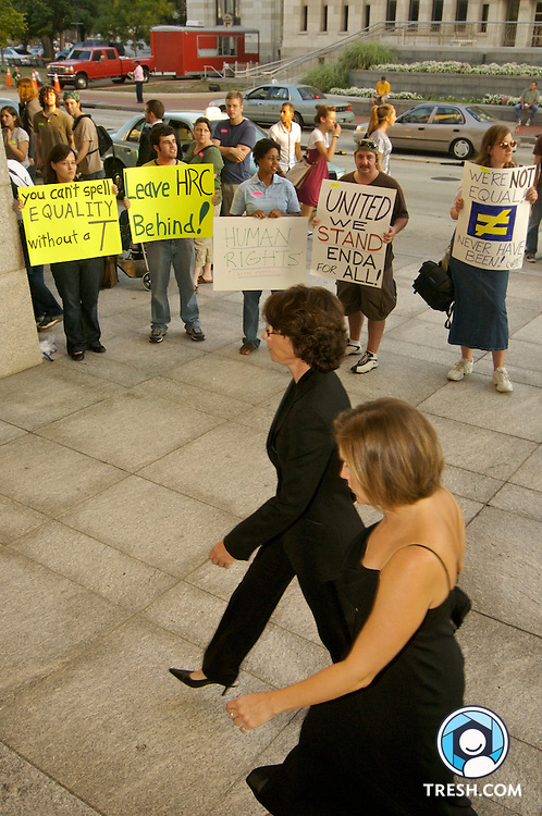 Transgender activists and supporters protest HRC for not encouraging members of Congress to vote against a non-transgender-inclusive version of the Employment Non-Discrimination Act (ENDA) at the Human Rights Campaign Annual National Dinner, Saturday, October 6, 2007, held in the Washington D.C. Convention Center.