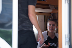 Alexis Ryan prepares for Stage 5 of the Giro Rosa - a 12.7 km individual time trial, starting and finishing in Sant'Elpido A Mare on July 4, 2017, in Fermo, Italy. (Photo by Sean Robinson/Velofocus.com)