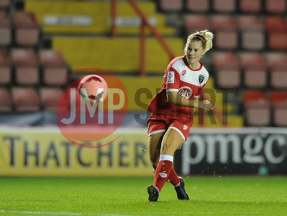 Bristol Academy Womens' Nicola Watts  takes a shot at goal. - Photo mandatory by-line: Dougie Allward/JMP - Mobile: 07966 386802 - 16/10/2014 - SPORT - Football - Bristol - Ashton Gate - Bristol Academy v Raheny United - Women's Champions League