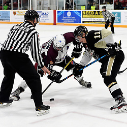 TRENTON, ON  - MAY 4,  2017: Canadian Junior Hockey League, Central Canadian Jr. &quot;A&quot; Championship. The Dudley Hewitt Cup. Game 6 between Trenton Golden Hawks and the Dryden GM Ice Dogs. Braeden Allkins #16 of the Dryden GM Ice Dogs takes the face-off against Jordan Chard #11 of the Trenton Golden Hawks during the first period. <br /> (Photo by Andy Corneau / OJHL Images)