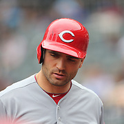 Joey Votto, Cincinnati Reds, preparing to bat during the New York Mets Vs Cincinnati Reds MLB regular season baseball game at Citi Field, Queens, New York. USA. 28th June 2015. Photo Tim Clayton