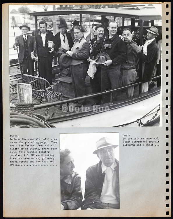 page from a photo album with company workers on a day out USA 1945