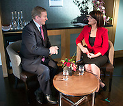 17/02/2016   Eimear N&iacute; Chonaola  interviewing An Taoiseach Enda Kenny TD at the Clayton Hotel Galway<br /> Photo:Andrew Downes, xposure.