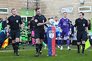 The teams enter the pitch during the EFL Sky Bet League 2 second leg Play Off match between Forest Green Rovers and Tranmere Rovers at the New Lawn, Forest Green, United Kingdom on 13 May 2019.