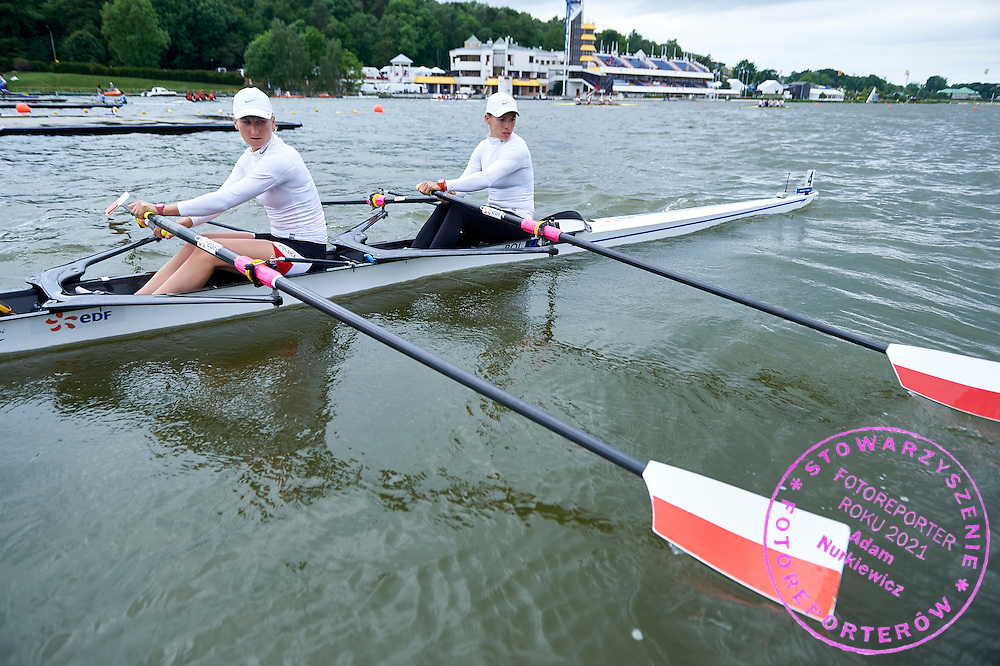 (stroke) Natalia Madaj and (bow) Magdalena Fularczyk both from Poland before their Semifinal at Women&rsquo;s Double Sculls (W2x) during second day the 2015 European Rowing Championships on Malta Lake on May 30, 2015 in Poznan, Poland<br /> Poland, Poznan, May 30, 2015<br /> <br /> Picture also available in RAW (NEF) or TIFF format on special request.<br /> <br /> For editorial use only. Any commercial or promotional use requires permission.<br /> <br /> Mandatory credit:<br /> Photo by &copy; Adam Nurkiewicz / Mediasport