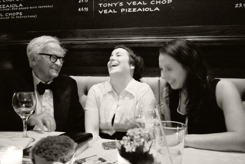Documentary filmmaker Albert Maysles with Jean Strong and Laura Wagner of Bay Bridge Productions  at the Tony Award after party for Grey Gardens, June 10, 2007