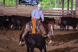 May 21, 2017 - Minshall Farm Cutting 4, held at Minshall Farms, Hillsburgh Ontario. The event was put on by the Ontario Cutting Horse Association. Riding in the 25,000 Novice Horse Non-Pro Class is J P Gravel on Red Hott Twister owned by the rider.