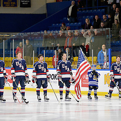 WHITBY, - Dec 18, 2015 -  Game #12 - Bronze Medal Game, Team Canada East vs. United States at the 2015 World Junior A Challenge at the Iroquois Park Recreation Complex, ON. Team United States during the National Anthem.<br /> (Photo: Shawn Muir / OJHL Images)
