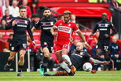 Adama Traore of Middlesbrough is tackled by Alan Hutton of Aston Villa - Mandatory by-line: Robbie Stephenson/JMP - 12/05/2018 - FOOTBALL - Riverside Stadium - Middlesbrough, England - Middlesbrough v Aston Villa - Sky Bet Championship