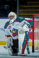 KELOWNA, CANADA - FEBRUARY 24:  James Porter #1 of the Kelowna Rockets warms up against the Kamloops Blazers on February 24, 2018 at Prospera Place in Kelowna, British Columbia, Canada.  (Photo by Marissa Baecker/Shoot the Breeze)  *** Local Caption ***