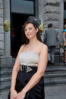 Karen Duffy from Roscommon at Hotel Meyrick on Ladies Day of the Galway Races,  for a best dressed competition,sponsored by Brown Thomas Galway, hosted by RTE's  Republic of Telly Star Jennifer Maguire. Photo:Andrew Downes. Photo issued with Compliments, no reproduction fee on first publication.