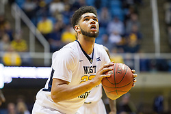 Nov 20, 2016; Morgantown, WV, USA; West Virginia Mountaineers forward Esa Ahmad (23) shoots a foul shot during the second half against the New Hampshire Wildcats at WVU Coliseum. Mandatory Credit: Ben Queen-USA TODAY Sports