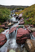 Waterfall along the Grinnell Trail in Glacier National Park, Montana.