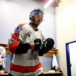 COCHRANE, ON - MAY 1: The Hearst Lumberjacks pregame on May 1, 2019 at Tim Horton Events Centre in Cochrane, Ontario, Canada.<br /> (Photo by Christian Bender / OJHL Images)