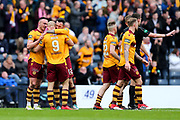 Motherwell players celebrate Motherwell's third goal (3-0) with goal scorer Curtis Main (#9) of Motherwell during the William Hill Scottish Cup Semi-Final match between Motherwell and Aberdeen at Hampden Park, Glasgow, United Kingdom on 14 April 2018. Picture by Craig Doyle.