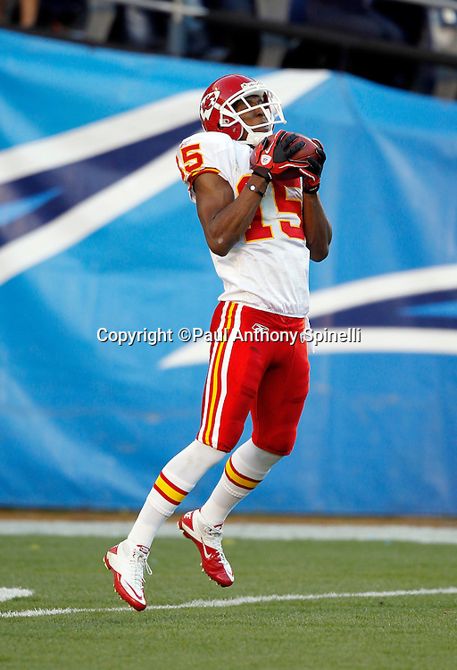 Kansas City Chiefs kick returner Verran Tucker (15) catches a kickoff during the NFL week 14 football game against the San Diego Chargers on Sunday, December 12, 2010 in San Diego, California. The Chargers won the game 31-0. (©Paul Anthony Spinelli)