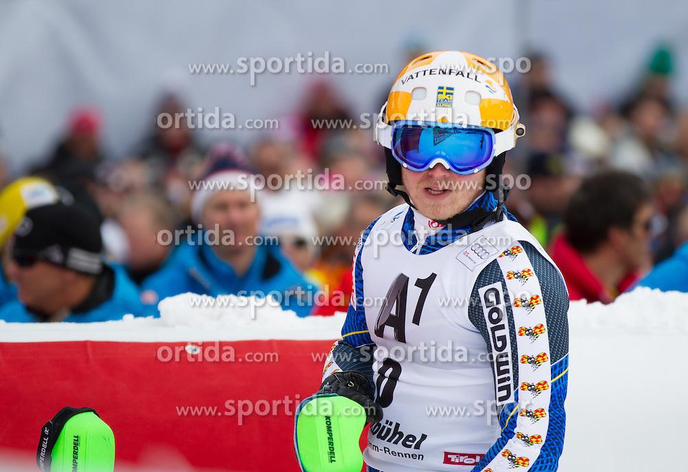 27.01.2013, Ganslernhang, Kitzbuehel, AUT, FIS Weltcup Ski Alpin, Slalom, Herren, 2. Lauf, im Bild Jens Byggmark (SWE) // Jens Byggmark of Sweden reacts after 2nd run of the mens Slalom of the FIS Ski Alpine World Cup at the Ganslernhang course, Kitzbuehel, Austria on 2013/01/27. EXPA Pictures © 2013, PhotoCredit: EXPA/ Johann Groder