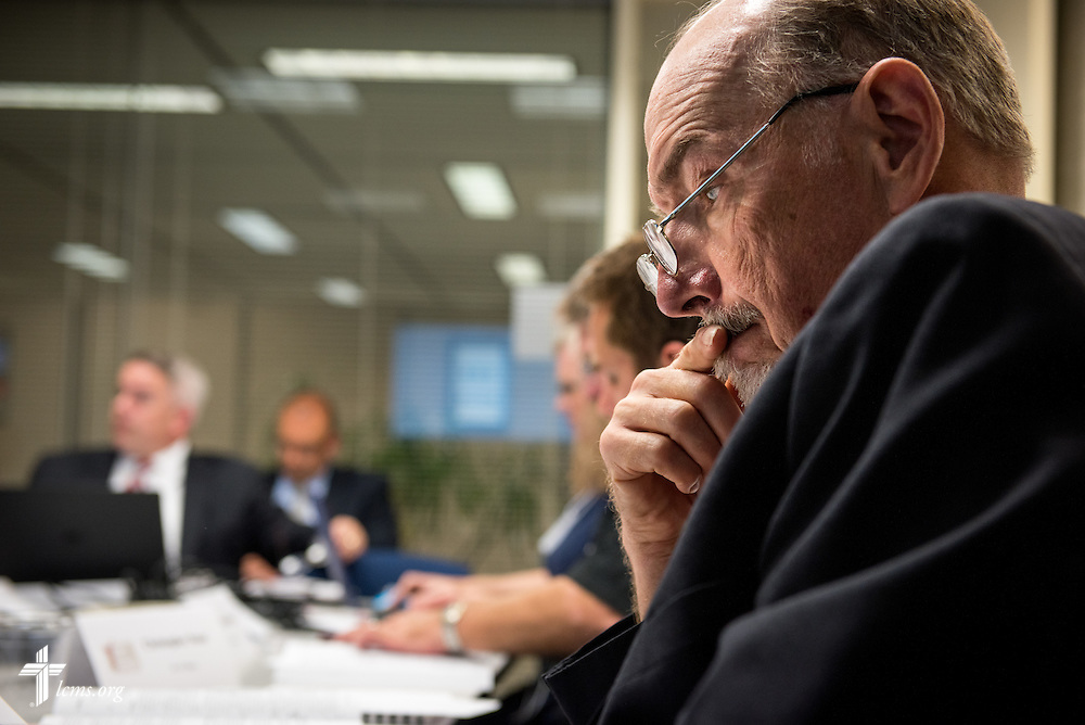 Robert Hering of Battle Creek, Neb., listens to discussion at Floor Committee #3 at the International Center of The Lutheran Church–Missouri Synod on Friday, May 27, 2016, in Kirkwood, Mo. LCMS Communications/Erik M. Lunsford