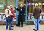 © Licensed to London News Pictures. 12/02/2013. Eastleigh, UK NIGEL FARAGE © campaigns in Eastleigh. Diane James, chosen yesterday to fight the Eastleigh by election for UKIP, campaigns with Nigel Farage, leader of the party, in Easleigh's Market Street today 12th February 2013. Photo credit : Stephen Simpson/LNP