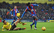 Emmanuel Adebayor on the attack during the Barclays Premier League match between Crystal Palace and Watford at Selhurst Park, London, England on 13 February 2016. Photo by Michael Hulf.