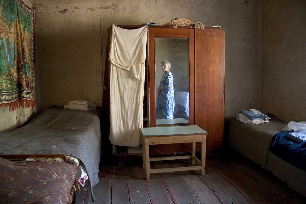 Lina Nersesyan in her house in the village of Sktaturashen, Nagorno-Karabakh.  Before the war 70 families lived here; Sktaturashen was heavily bombed and now, she and her husband are the only ones who haven't left.