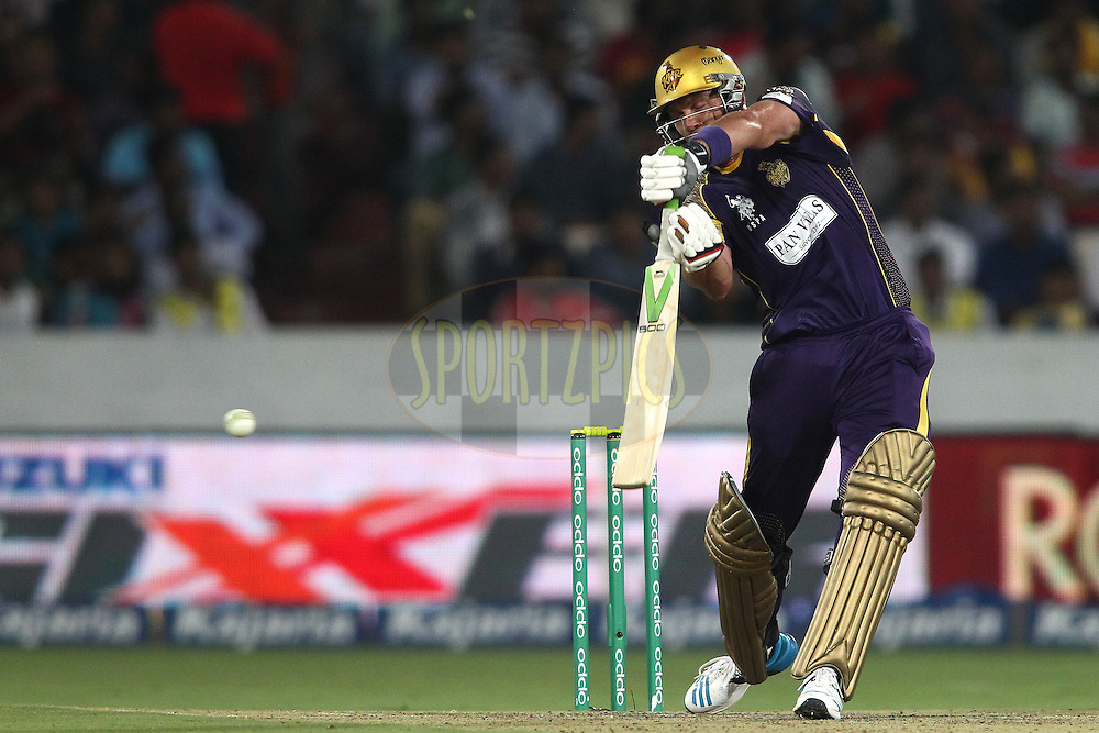 Jacques Kallis of the Kolkata Knight Riders runs the ball down to third man during the first semi final match of the Oppo Champions League Twenty20 between the Kolkata Knight Riders and the Hobart Hurricanes held at the Rajiv Gandhi Cricket Stadium, Hyderabad, India on the 2nd October 2014<br /> <br /> Photo by:  Shaun Roy / Sportzpics/ CLT20<br /> <br /> <br /> Image use is subject to the terms and conditions as laid out by the BCCI/ CLT20.  The terms and conditions can be downloaded here:<br /> <br /> http://sportzpics.photoshelter.com/gallery/CLT20-Image-Terms-and-Conditions-2014/G0000IfNJn535VPU/C0000QhhKadWcjYs