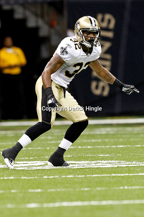 August 12, 2011; New Orleans, LA, USA; New Orleans Saints cornerback Johnny Patrick (32) during the first half of a preseason game against the San Francisco 49ers at the Louisiana Superdome. Mandatory Credit: Derick E. Hingle