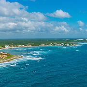 Aerial view of Akumal. Riviera Maya, Mexico.