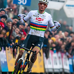 2020-01-01 Cycling: dvv verzekeringen trofee: Baal: Mathiue van der Poel celebrates the new sponsors with an outstanding win on the Baalenberg