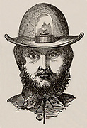 Cornish miner's skull-cap lamp, for carrying on the head, or on the front of the wheelbarrow when going up an adit. Easily removed  from helmet and could be fixed wherever needed.  From 'The Playbook of Metals' by John Henry Pepper (London, 1862). Engraving.