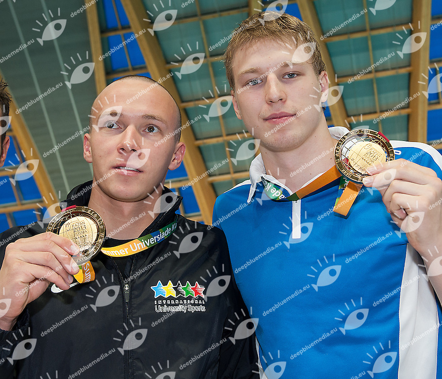 TSURKIN Yauhen Belarus BLR and GOVOROV Andrii Ukraine UKR<br /> 50 butterfly men<br /> gold medal ex-aequo<br /> 27th Summer Universiade <br /> 5 - 17 July 2013 Kazan Tatarstan Russia<br /> Day 07 Swimming finals<br /> Photo G. Scala/Insidefoto/Deepbluemedia.eu
