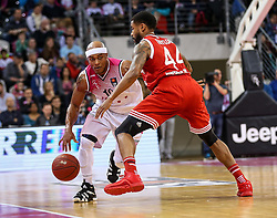 28.03.2016, Telekom Dome, Bonn, GER, Beko Basketball BL, Telekom Baskets Bonn vs FC Bayern Muenchen, 23. Runde, im Bild vl. Eug en Lawrencfe c(BBonn, #1Bryce Tylor (Muenchen, #44) // during the Beko Basketball Bundes league 23th round match between Telekom Baskets Bonn and FC Bayern Munich at the Telekom Dome in Bonn, Germany on 2016/03/28. EXPA Pictures © 2016, PhotoCredit: EXPA/ Eibner-Pressefoto/ Horn<br /> <br /> *****ATTENTION - OUT of GER*****